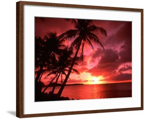 Palms And Sunset at Tumon Bay, Guam-Bill Bachmann-Framed Art Print