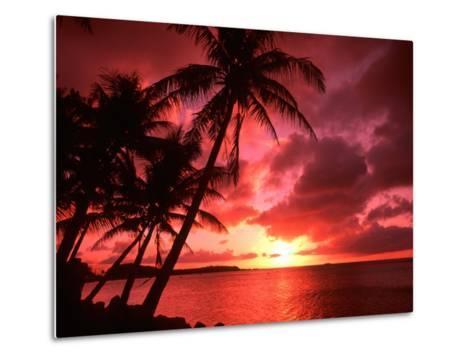 Palms And Sunset at Tumon Bay, Guam-Bill Bachmann-Metal Print
