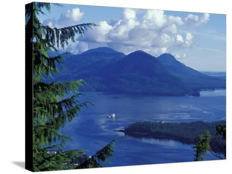 Aerial View of Boat and Annette Island near Ketchikan, Inside Passage, Alaska, USA-Howie Garber-Stretched Canvas Print