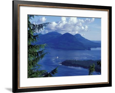 Aerial View of Boat and Annette Island near Ketchikan, Inside Passage, Alaska, USA-Howie Garber-Framed Art Print