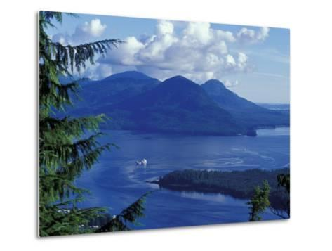 Aerial View of Boat and Annette Island near Ketchikan, Inside Passage, Alaska, USA-Howie Garber-Metal Print
