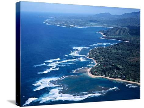 Hanalei Bay and the Distant Princeville Hotel, Kauai, Hawaii, USA-Charles Sleicher-Stretched Canvas Print
