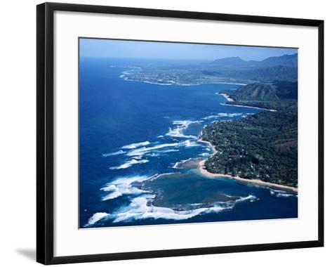 Hanalei Bay and the Distant Princeville Hotel, Kauai, Hawaii, USA-Charles Sleicher-Framed Art Print