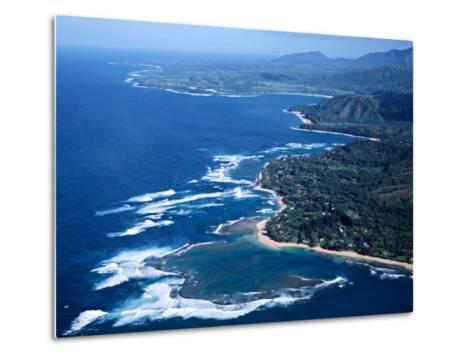 Hanalei Bay and the Distant Princeville Hotel, Kauai, Hawaii, USA-Charles Sleicher-Metal Print