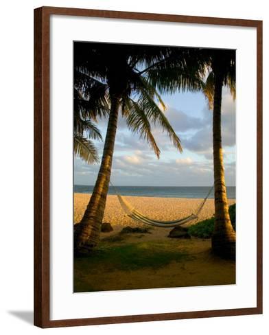 Ship Wreck Beach and Hammock, Kauai, Hawaii, USA-Terry Eggers-Framed Art Print