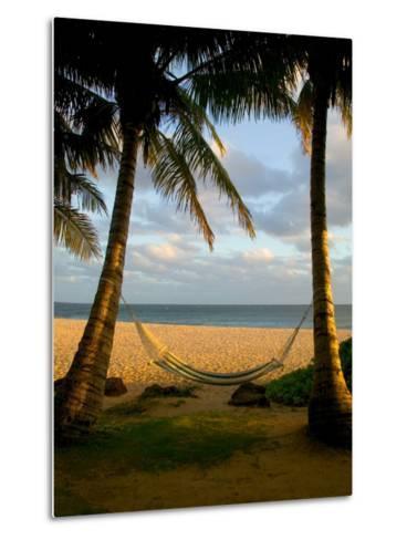 Ship Wreck Beach and Hammock, Kauai, Hawaii, USA-Terry Eggers-Metal Print