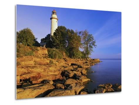 Pointe Aux Barques Lighthouse at Sunrise on Lake Huron, Michigan, USA-Adam Jones-Metal Print
