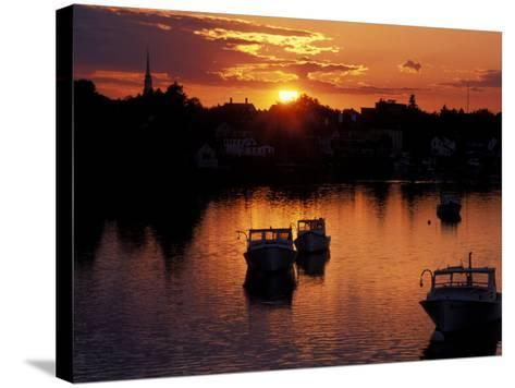 Sunset on Boats in Portsmouth Harbor, New Hampshire, USA-Jerry & Marcy Monkman-Stretched Canvas Print