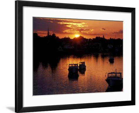 Sunset on Boats in Portsmouth Harbor, New Hampshire, USA-Jerry & Marcy Monkman-Framed Art Print