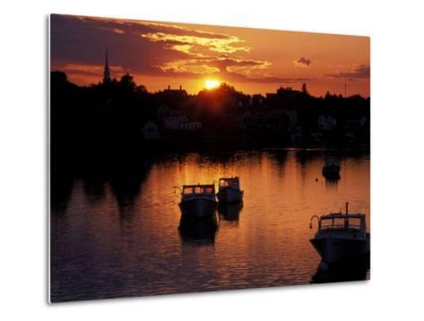 Sunset on Boats in Portsmouth Harbor, New Hampshire, USA-Jerry & Marcy Monkman-Metal Print