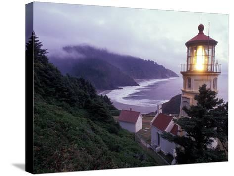 Foggy Day at the Heceta Head Lighthouse, Oregon, USA-Janis Miglavs-Stretched Canvas Print