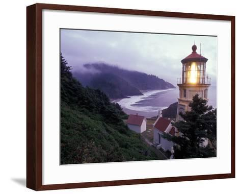 Foggy Day at the Heceta Head Lighthouse, Oregon, USA-Janis Miglavs-Framed Art Print