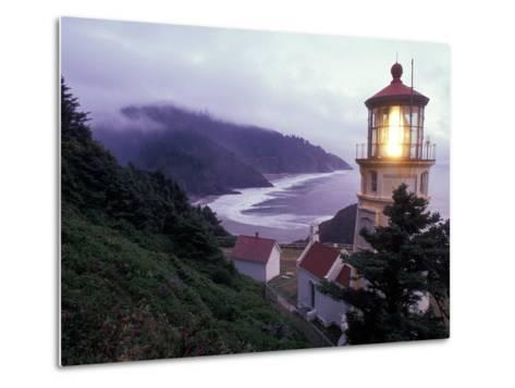 Foggy Day at the Heceta Head Lighthouse, Oregon, USA-Janis Miglavs-Metal Print