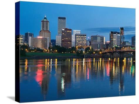 City Lights Glowing at Night, Portland, Oregon, USA-Janis Miglavs-Stretched Canvas Print
