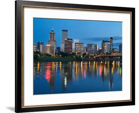 City Lights Glowing at Night, Portland, Oregon, USA-Janis Miglavs-Framed Art Print