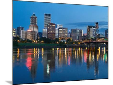 City Lights Glowing at Night, Portland, Oregon, USA-Janis Miglavs-Mounted Photographic Print