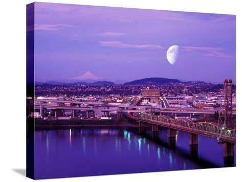 Moon Over the City with Mt Hood in the Background, Portland, Oregon, USA-Janis Miglavs-Stretched Canvas Print