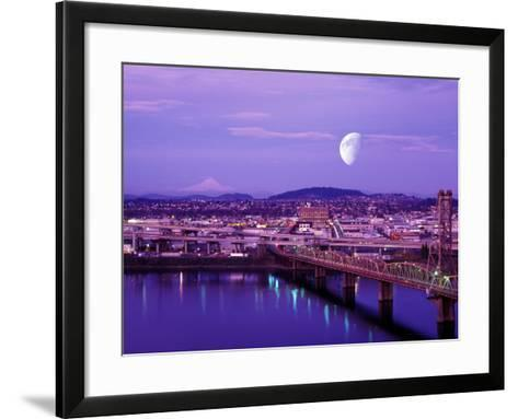 Moon Over the City with Mt Hood in the Background, Portland, Oregon, USA-Janis Miglavs-Framed Art Print