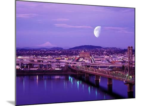 Moon Over the City with Mt Hood in the Background, Portland, Oregon, USA-Janis Miglavs-Mounted Photographic Print