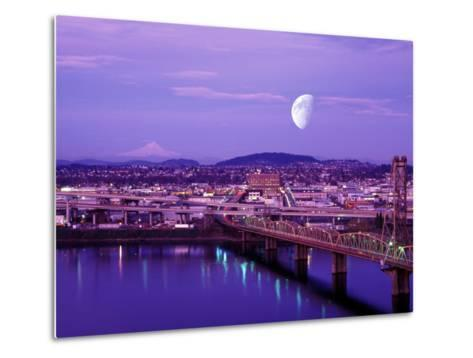 Moon Over the City with Mt Hood in the Background, Portland, Oregon, USA-Janis Miglavs-Metal Print