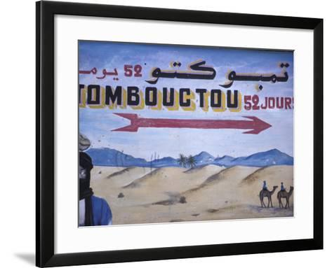 Colorful Sign Showing Way to Timbuktu, Morocco-John & Lisa Merrill-Framed Art Print