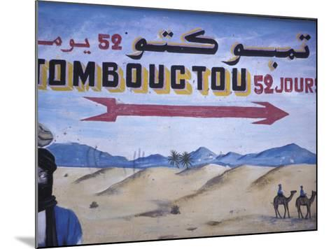 Colorful Sign Showing Way to Timbuktu, Morocco-John & Lisa Merrill-Mounted Photographic Print