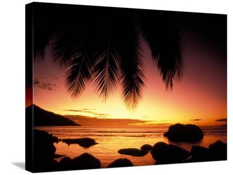 Tropical Sunset on Beauvallon Bay, Seychelles-Nik Wheeler-Stretched Canvas Print