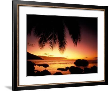 Tropical Sunset on Beauvallon Bay, Seychelles-Nik Wheeler-Framed Art Print