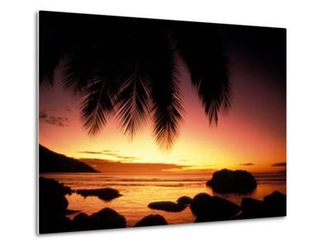 Tropical Sunset on Beauvallon Bay, Seychelles-Nik Wheeler-Metal Print