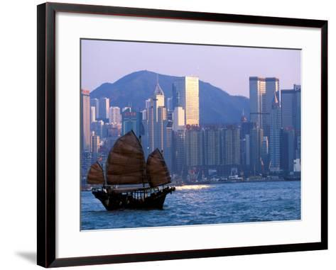 Junk Sailing in Hong Kong Harbor, Hong Kong, China-Paul Souders-Framed Art Print