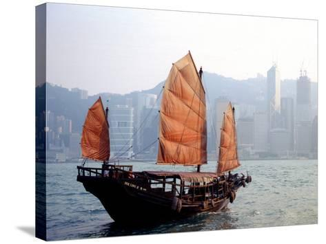 Duk Ling Junk Boat Sails in Victoria Harbor, Hong Kong, China-Russell Gordon-Stretched Canvas Print