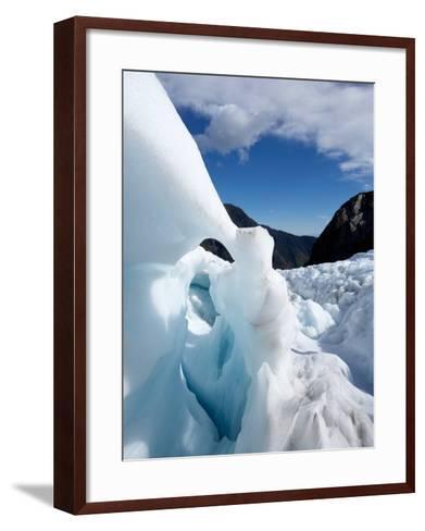 Blue Ice Cave, Franz Josef Glacier, South Island, New Zealand-David Wall-Framed Art Print