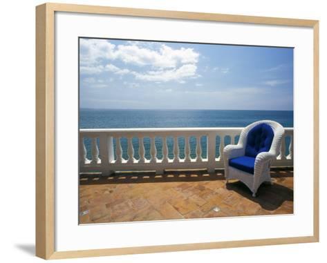 Wicker Chair and Tiled Terrace at the Hornet Dorset Primavera Hotel, Puerto Rico-Michele Molinari-Framed Art Print