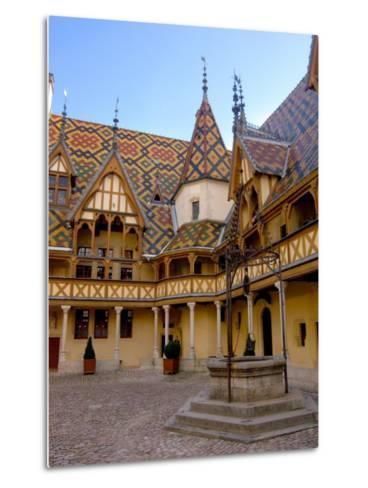 Well in Hotel-Dieu Courtyard, Beaune, Burgundy, France-Lisa S^ Engelbrecht-Metal Print