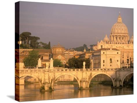 Basilica San Pietro and Ponte Sant Angelo, The Vatican, Rome, Italy-Walter Bibikow-Stretched Canvas Print