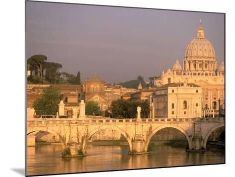 Basilica San Pietro and Ponte Sant Angelo, The Vatican, Rome, Italy-Walter Bibikow-Mounted Photographic Print