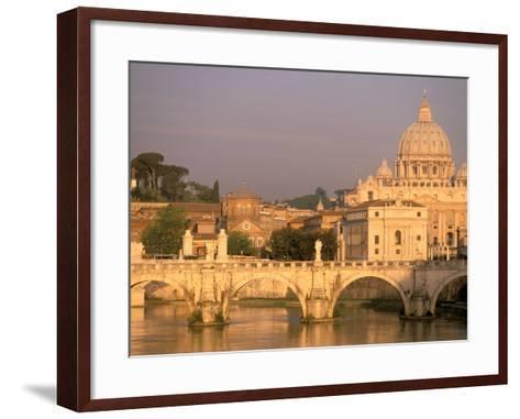 Basilica San Pietro and Ponte Sant Angelo, The Vatican, Rome, Italy-Walter Bibikow-Framed Art Print