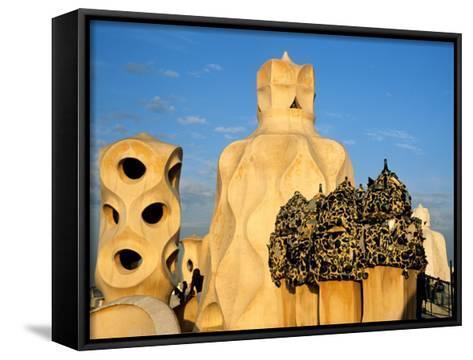 Antonio Gaudi's La Pedrera, Casa Mila, Barcelona, Spain-David Barnes-Framed Canvas Print