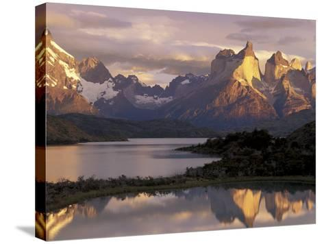 Lake Pehoe and Paine Grande at Sunrise, Torres del Paine National Park, Patagonia, Chile-Theo Allofs-Stretched Canvas Print