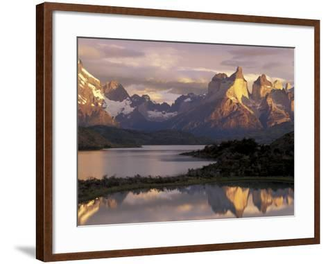 Lake Pehoe and Paine Grande at Sunrise, Torres del Paine National Park, Patagonia, Chile-Theo Allofs-Framed Art Print