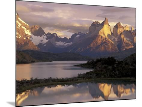 Lake Pehoe and Paine Grande at Sunrise, Torres del Paine National Park, Patagonia, Chile-Theo Allofs-Mounted Photographic Print