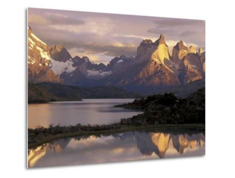 Lake Pehoe and Paine Grande at Sunrise, Torres del Paine National Park, Patagonia, Chile-Theo Allofs-Metal Print