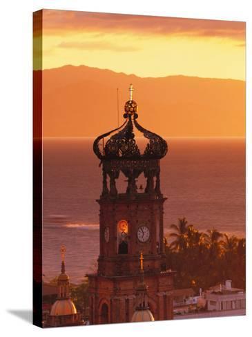 Tower of Nuestra Senora de Guadalupe at Sunset, and Bay of Banderas, Puerto Vallarta, Mexico-John & Lisa Merrill-Stretched Canvas Print