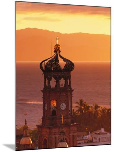 Tower of Nuestra Senora de Guadalupe at Sunset, and Bay of Banderas, Puerto Vallarta, Mexico-John & Lisa Merrill-Mounted Photographic Print