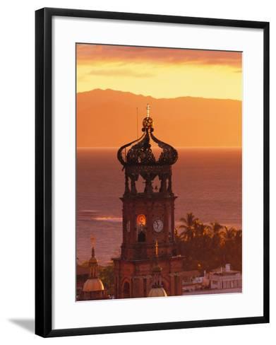 Tower of Nuestra Senora de Guadalupe at Sunset, and Bay of Banderas, Puerto Vallarta, Mexico-John & Lisa Merrill-Framed Art Print