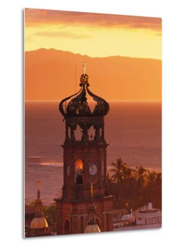 Tower of Nuestra Senora de Guadalupe at Sunset, and Bay of Banderas, Puerto Vallarta, Mexico-John & Lisa Merrill-Metal Print