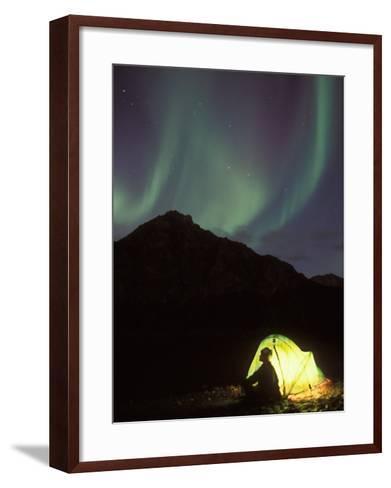 Northern Lights and Camper Outside Tent, Brooks Range, Arctic National Wildlife Refuge, Alaska, USA-Steve Kazlowski-Framed Art Print
