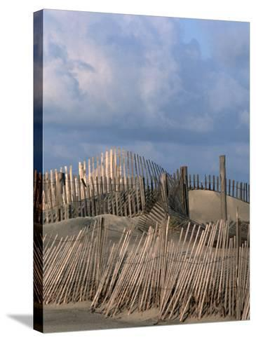 Weathered Fencing, Tybee Island, Georgia, USA-Joanne Wells-Stretched Canvas Print