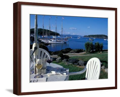 Restaurant at the Bar Harbor Inn and View of the Porcupine Islands, Maine, USA-Jerry & Marcy Monkman-Framed Art Print