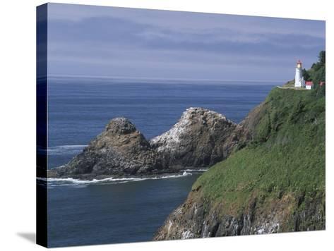 Heceta Head Lighthouse and Seastacks, Cape Sebestian, Oregon, USA-John & Lisa Merrill-Stretched Canvas Print